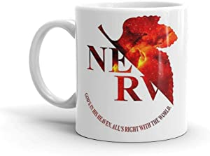 Space Genesis Evangelion 02 || Nerv Logo 11 Oz Mugs Made Of Durable Ceramic With An Easy Grip Handle.This Coffee Mug Has A Hefty But Classic Feel