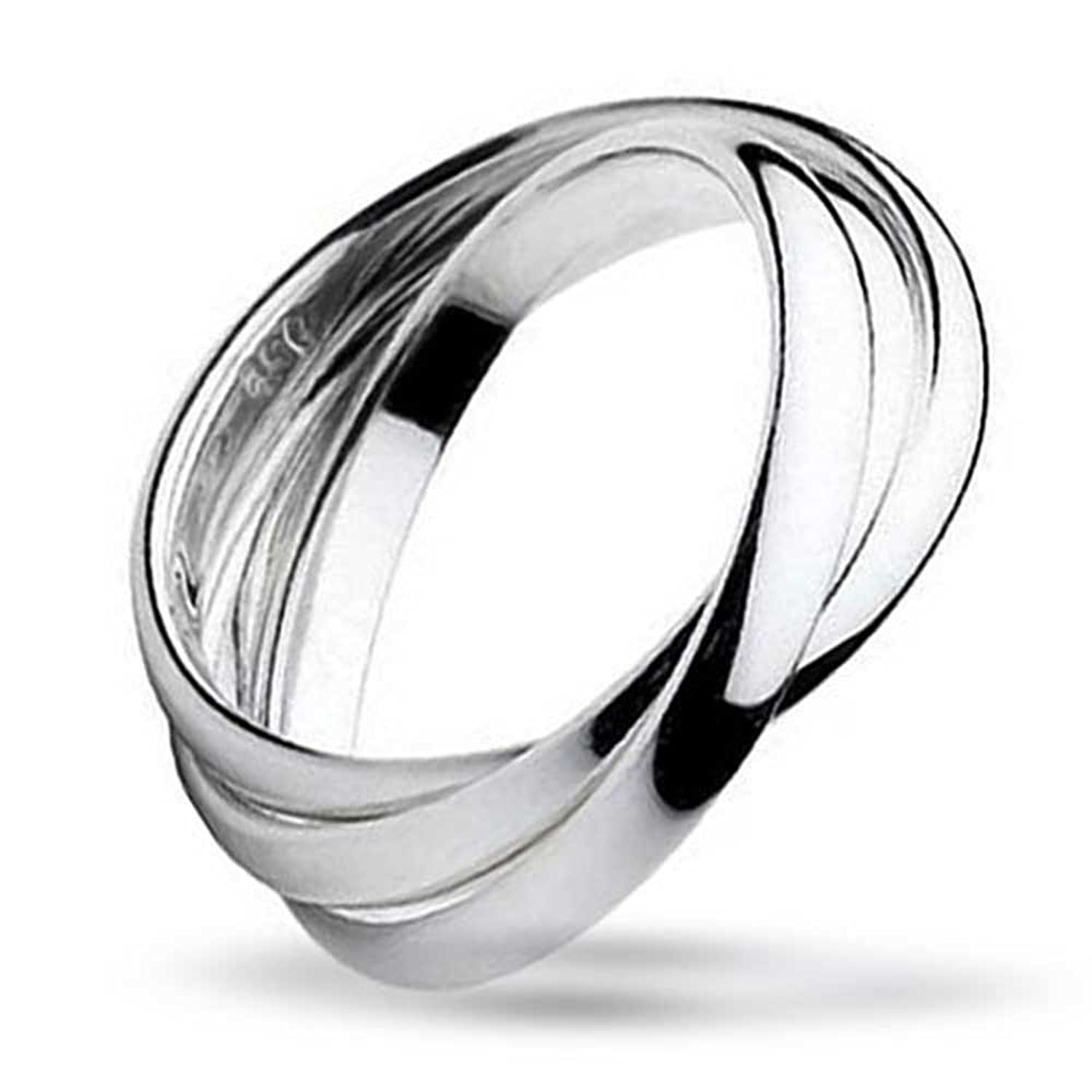 Bling Jewelry Unisex Sterling Silver Rolling Triple Russian Wedding Band Ring Amazoncouk Jewellery