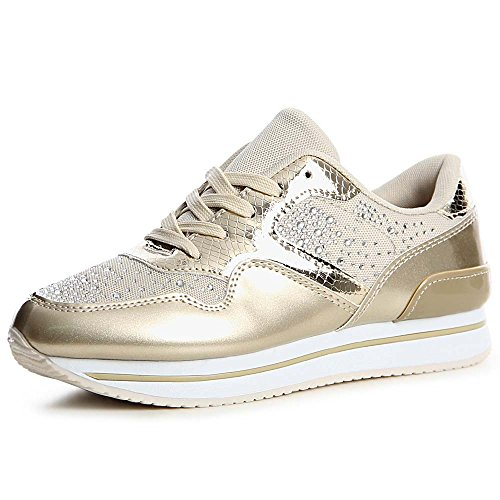 topschuhe24 1321 Damen Plateau Turnschuhe Sneaker Derby Metallic Miami Gold