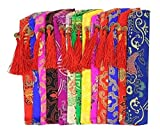 Set Of 5 Silk Fan Cover Chinese Style Fan Bag Business Gifts Random Color