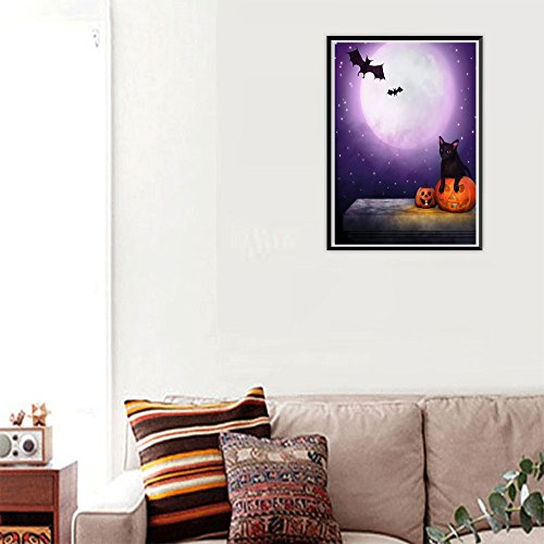 FIged DIY 5D Diamond Painting by Number Kit, Crystal Rhinestone Black Cat Bat Purple Moonlight Embroidery Cross Stitch Arts Craft Supply Canvas Wall Decor