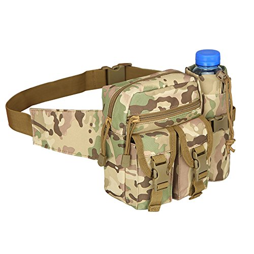 YingTech Military Tactical Waist Duffel Pack Bag With Water Bottle Pocket for Travel Hiking (CP Camo)