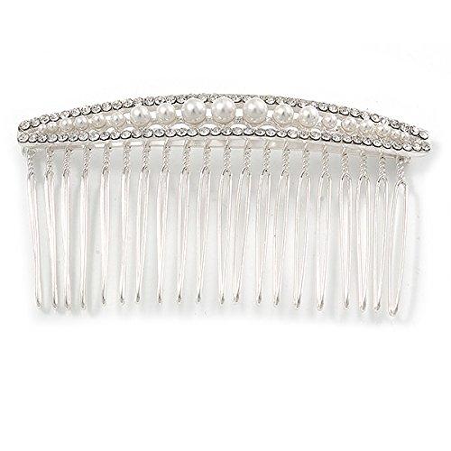 Mariage//mariage//Prom//f/ête Plaqu/é argent clair cristal /80/mm Blanc Fausse Perle Peigne /à cheveux/
