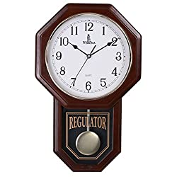 Verona Traditional Wood Pendulum Wall Clock with Glass Front - Elegant & decorative clock with dark brown finish – 18 x 11.25 x 2.75 inch – Quartz movement, battery operated & non-chiming