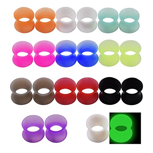 Longbeauty 11 Pair Thin Silicone Ear Skin Flexible Flesh Double Flared Ear Tunnels Expander Plugs Stretcher 11 Colors-14mm