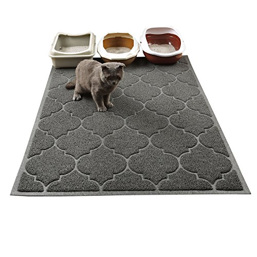 Cat Litter Mat, XL Super Size, Phthalate Free, Easy to Clean, 46×35 Inches, Durable, Soft on Paws, Large Litter Mat.