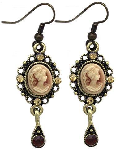 Cameo Gold Tone Earrings - cocojewelry Cameo Charm Dangle Hook Post Stud Earrings (Purple Gold-tone Hook 1/2 Inch)