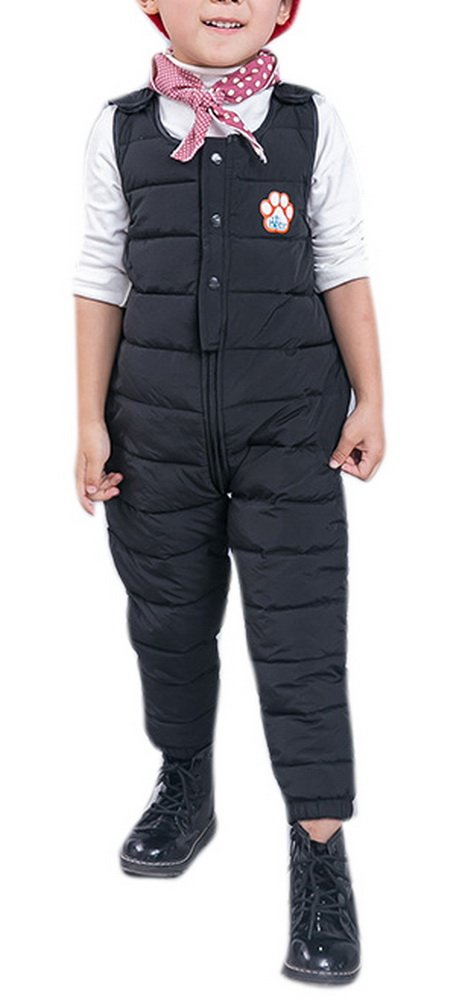 Girl Fashion Snow Pants Set Long One Piece Jumpsuit Overall Thick Down Shortall 100 Black