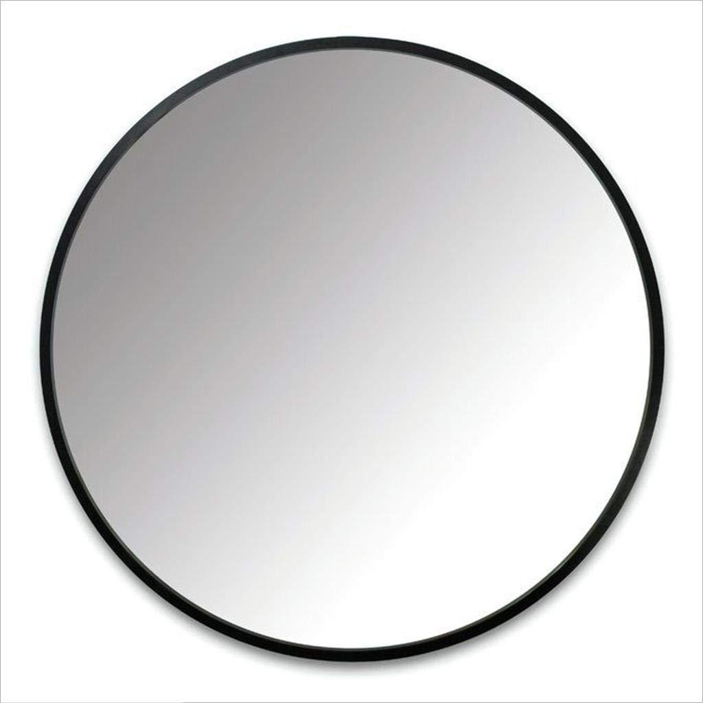 Spiegel - Runder an der Wand befestigter Badezimmerspiegel, Hauptmetallrahmenspiegel, nordischer unbedeutender Stil (Farbe : SCHWARZ, größe : 70cm)