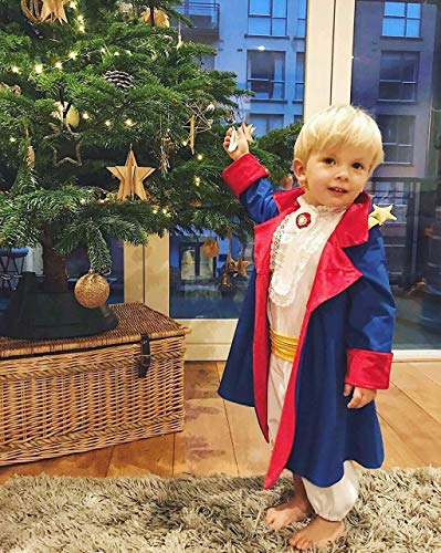 Little Prince's Costume - Blue Cloak With Red Lining, White Shirt With Jabot, Brooch And Lace, White Pants, Yellow Belt - Size 0-3 - Belt Velour Cotton