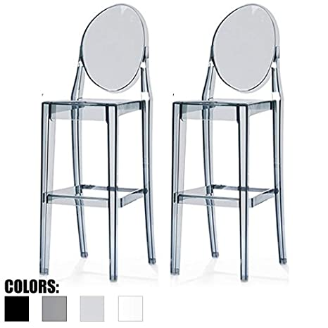 Miraculous 2Xhome Set Of Two 2 Smoke 30 Seat Height Barstool Modern Ghost Side Bar Stool Counter Stool Accent Stool Lounge No Arms Armless Arm Less Andrewgaddart Wooden Chair Designs For Living Room Andrewgaddartcom