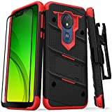 Zizo Bolt Series Compatible with Moto g7 Supra Case Military Grade Drop Tested with Full Glass Screen Protector Holster Kickstand g7 Power Black Red