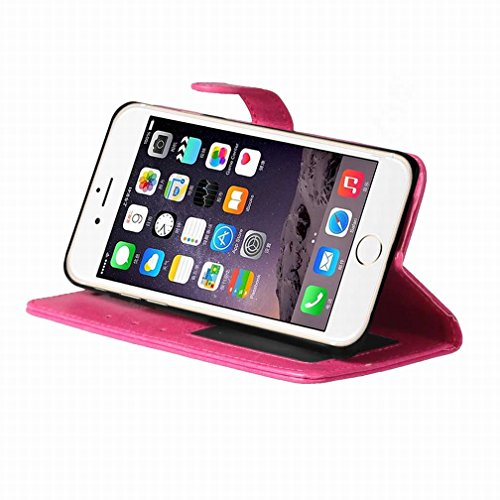 Yiizy Apple IPhone 7 Plus Funda, Bastidor Diseño Solapa Flip Billetera Carcasa Tapa Estuches Premium PU Cuero Cover Cáscara Bumper Protector Slim Piel Shell Case Stand Ranura para Tarjetas Estilo (Ros