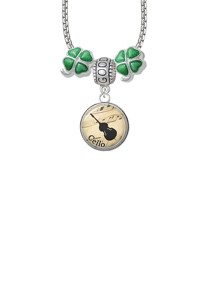 Cello Good Luck and Clover 3 Bead Necklace Domed Music