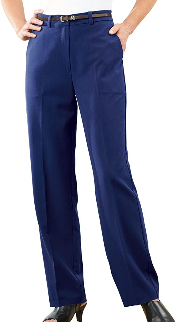 AmeriMark Womens Straight-Leg Pants Classic Tailored Slacks Stretch Knit