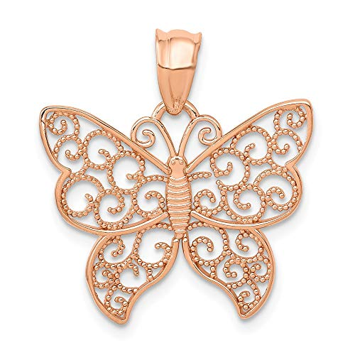 14k Rose Gold Polished Filigree Butterfly Pendant