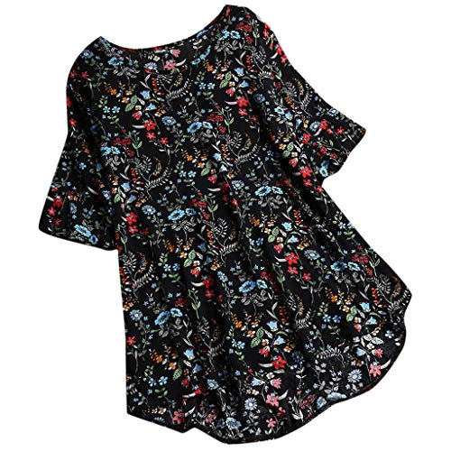 Benficial Womens Casual Plus Size Loose Linen Sleeve Print Button Tanic Shirt Blouse 2019 Summer Black