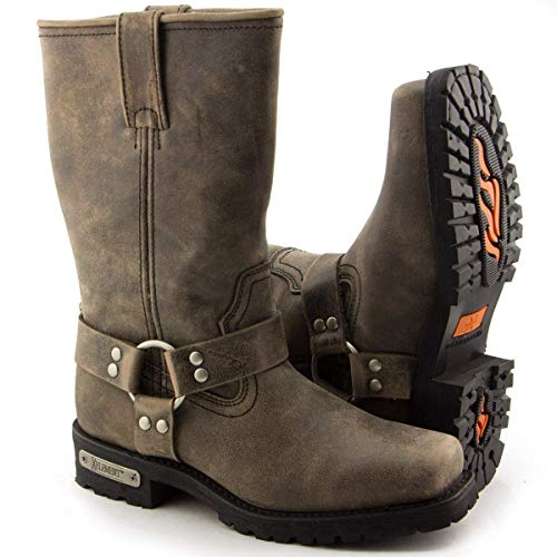 Xelement LU1604 Men's 13in Stone Wash Brown Leather Harness Motorcycle Boots - 12