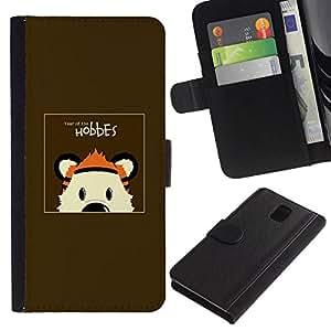 All Phone Most Case / Oferta Especial Cáscara Funda de cuero Monedero Cubierta de proteccion Caso / Wallet Case for Samsung Galaxy Note 3 III // HOBBES TIGER