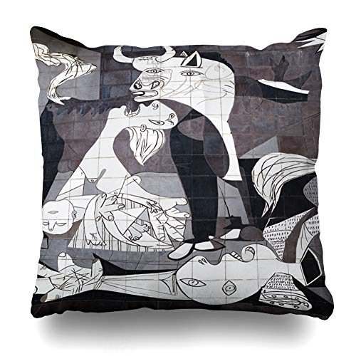Ahawoso Throw Pillow Cover Square 24x24 Inches Pablo Guernica Spain October 10 Tiled Museum Picasso Parks Spanish Abstract Cubism Painting History Zippered Cushion Pillow Case Home Decor Pillowcase ()