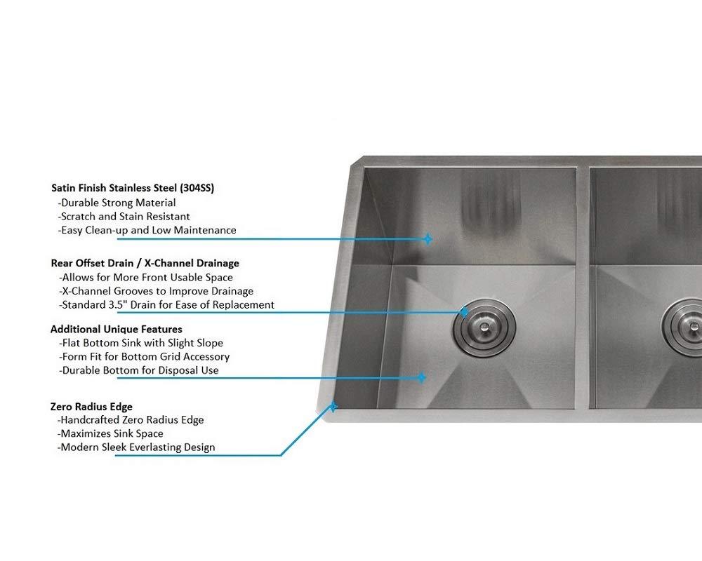 KABCO Stainless Steel Kitchen Sink Double Bowl 50//50 Zero Radius 32 X 19 X 10 Package