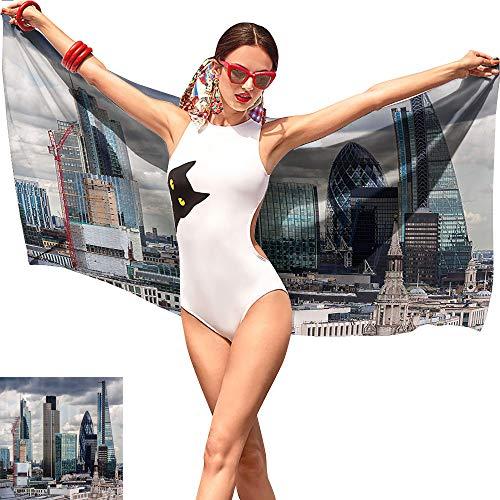 - Jaydevn Urban Cute Beach Towel,London England Skyline Buildings and Skyscrapers and Cloudy Sky Modern Capital City Multicolor,Tropical Beach Towel W27 x L55