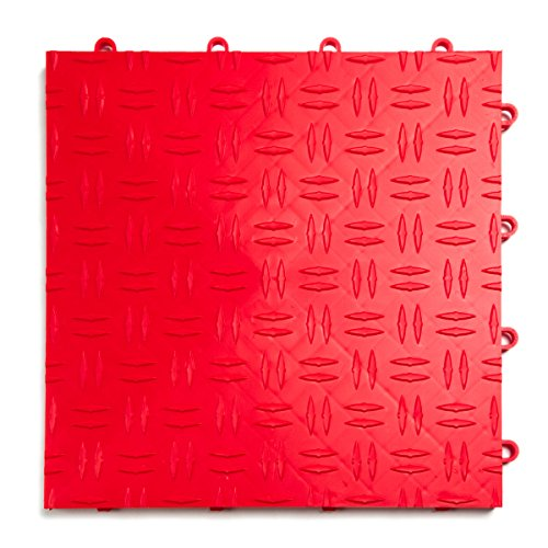 GarageTrac Diamond, Durable Interlocking Modular Garage Flooring Tile (48 Pack), Red