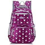 Uniuooi Primary School Backpack Book Bag for Girls 8-12 Years Old Waterproof Nylon Schoolbag Travel Rucksack 14 inch Laptop Bag, Cute Rabbit Print (Purple)