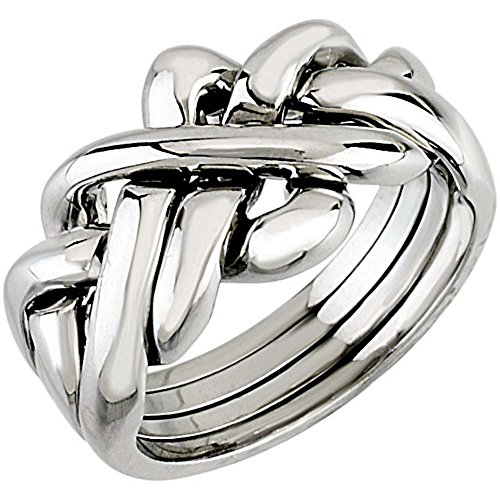 14k White Gold Puzzle Ring (Ladies' Puzzle Ring in 14K White Gold ( Size 6 ))