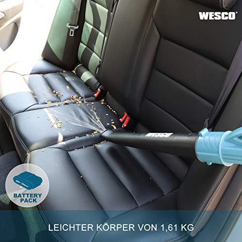 WESCO 18V 2.0Ah Akku Laubbläser, 12500 min-1, 200 km/h Blas-Luftstrom, 1.61kg, mit Akku und Ladgerät, für Garten, Garage und Auto