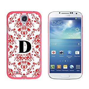 Letter D Initial Damask Elegant Red Black White - Snap On Hard Protective Case for Samsung Galaxy S4 - Pink