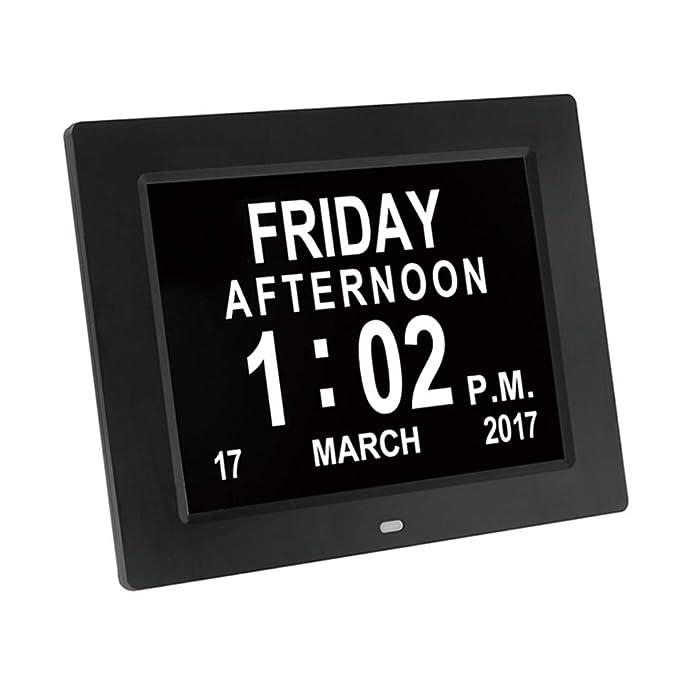 Marco de Fotos para Reloj Digital, Reloj Despertador de Gran tamaño Marco de Fotos Digital Reloj de Escritorio Grande/Reloj de Pared 8 Pulgadas, ...