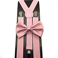 Awesome Light Pink Wedding Accessories Adjustable Bow Tie & Suspenders