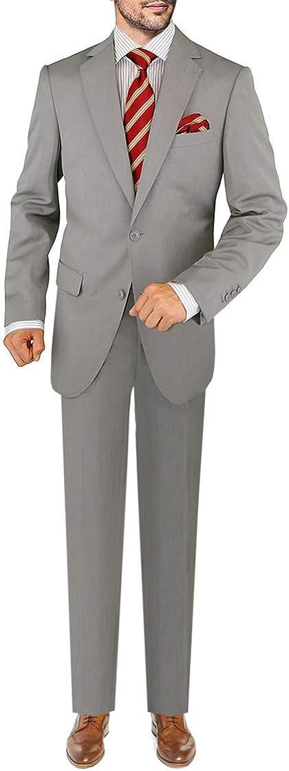 DTI GV Executive Men's Two Button Italian Wool Suit Faint Herringbone 2 Piece