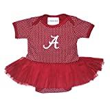 Two Feet Ahead NCAA Alabama Crimson Tide Children Girls Pin Dot Tutu Creeper,Nb,Crimson