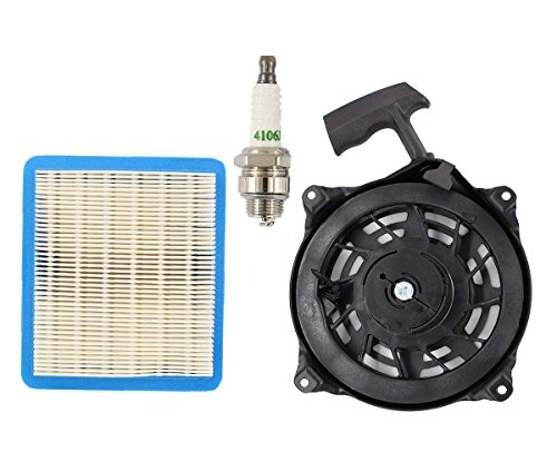 Yard Machines Lawn Mower (Recoil Pull Starter Air Filter Kit For Briggs Stratton 497680 12 CID Vertical Shaft L-head & Quantum Engine Lawn Mower Yard Machine Replaces Oregon 31-068 Rotary 12368)