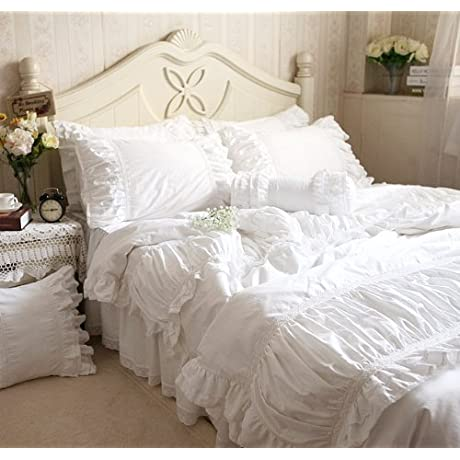 FADFAY Home Textile Hight Quality 100 Cotton White Ruffle Bedding Sets Beautiful Snow White Ruffled Lace Duvet Cover Bedding Sets