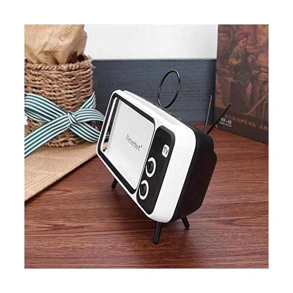 Domybest Enceinte Bluetooth Portable Mini Haut-Parleur Bluetooth Support de Téléphone de Forme TV Rétro Lecteur de Musique Sound Box Bluetooth Portable sans Fil 6