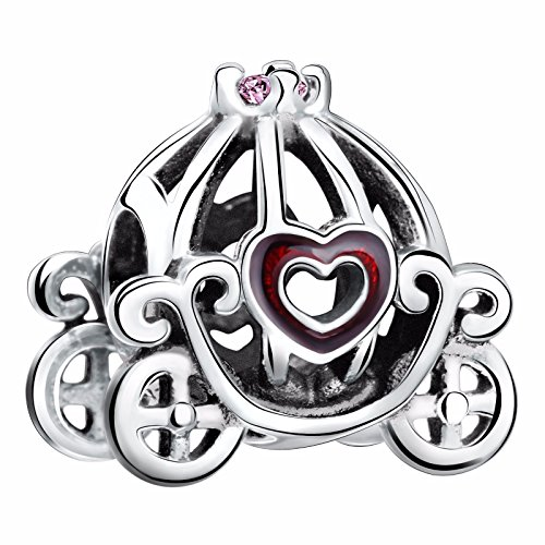 925 Sterling Silver Cinderella Pumpkin Coach Openwork Carriage Charms Bead for European Snake Bracelets Carriage Dangle Bead