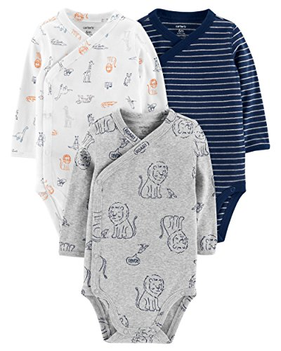 Carter's Baby Boys' 3-Pack Side-Snap Bodysuits (3 Months, Heather/Lion)