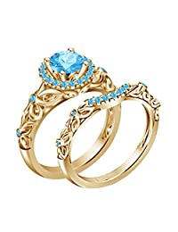 14k Yellow Gold Plated on Alloy w/Aquamarine Disney Princess Bridal Ring Set (6)