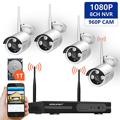 [Expandable System]Wireless Security Camera System,SMONET Full HD 8CH 1080P Video Security System with 1TB HDD,4pcs 960P Indoor/Outdoor Wireless IP Cameras,65ft Night Vision,P2P,Easy Remote View
