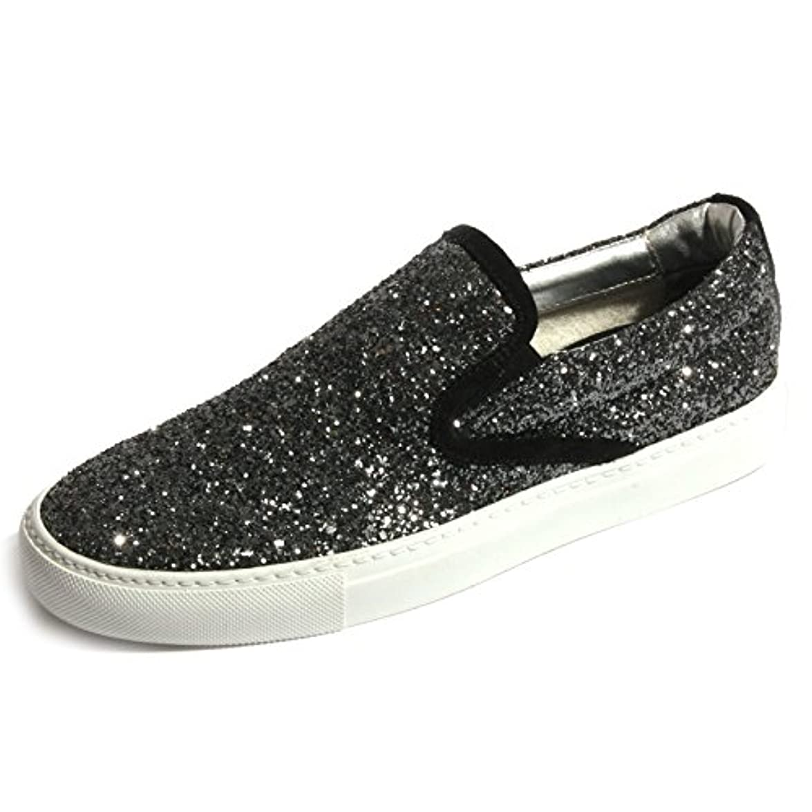 B0417 Sneaker Donna P448 E5 Slipon Scarpa Nera Glitter Shoes Women