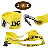 "2 Winch Straps, 4""x30' Flatbed Trailer Strap Tie Downs w/ Flat Hooks, Heavy Duty Cargo Straps for Flatbeds, Trailers, and Trucks"