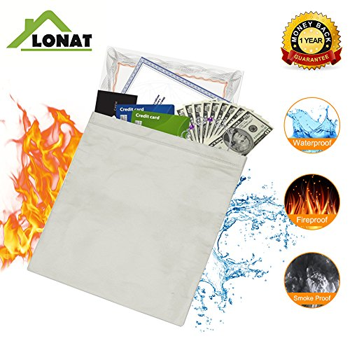 1'' Large Size Fire Resistant Document Bag for Cash, Passports, Document, Jewelry, Photos, Valuables - No Itchy Fiberglass Withstand Over 1000F (Resistant High Security Cash Safe)