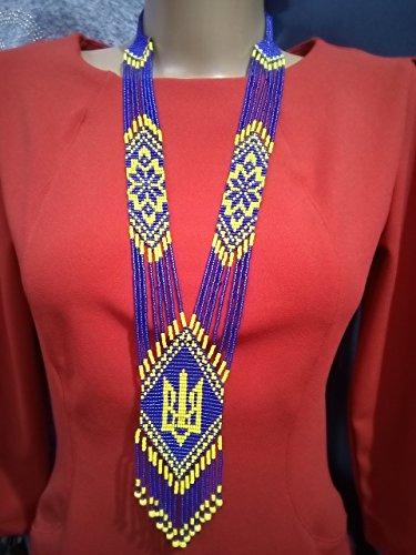 Ukrainian Folk National Costumes (Ukrainian Tryzub Gerdan, Blue and Yellow Beaded Long Necklace)