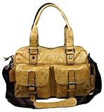 Chickle Men's Yellow Leather Handbag Tote Bag