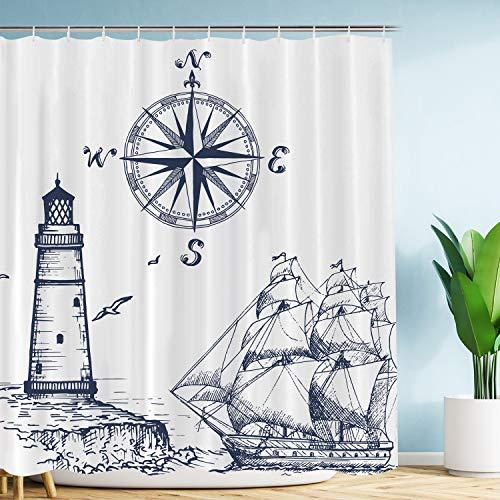 VIMMUCIR Sail Boat Nautical Shower Curtain, Lighthouse and Compass Navy Blue Print Bathroom Decor, Waterproof Fabric Curtains for Bathroom, Stalls and Bathtubs, 60