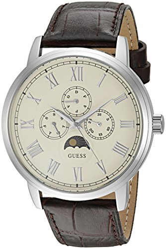 GUESS Men's U0870G1 Dressy Stainless Steel Watch with Multi-function Dial and Genuine Leather Strap Buckle