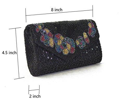 Handmade amp;Shining Short Handbag Clutch Sunny Evening Purse Crossbody Party flower Beaded 5FHwwxqzd